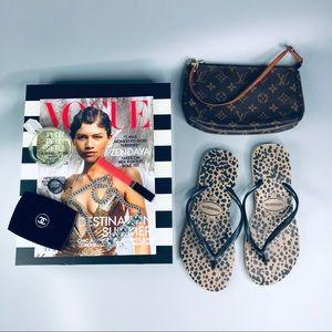 Havaianas Leopard Black and Brown Flip Flop Sandal
